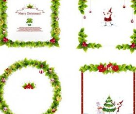 christmas wreath border vector graphics