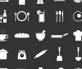 Kitchen Icons Set vectors graphics