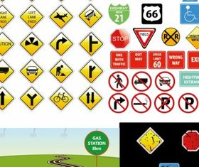 Traffic signs graphic design vectors