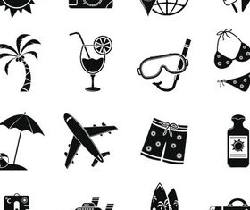 Silhouette Travel Icons 5 vector