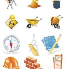 construction site theme icon creative vector