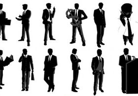 Businessman Silhouettes vectors graphics