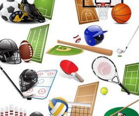 sports equipment 05 design vectors