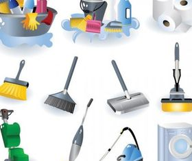 cleaning supplies icon shiny vector