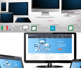 Modern Computers Technology vector set