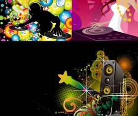 dj music theme vector material