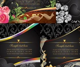 4 money flowers card vector design