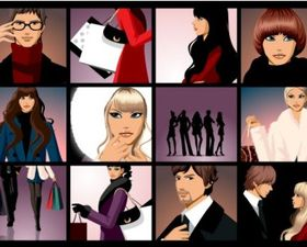 closeup men and women vectors material