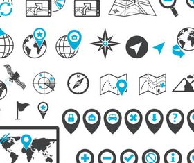 Navigation Blue Icons vector