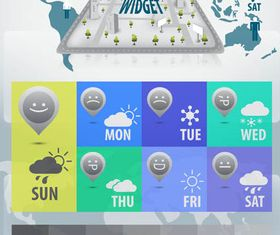 Weather Wigets Elements vector set