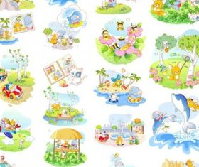 cute animal life theme vectors material