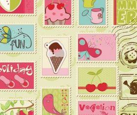 cartoon illustration stamp 02 vector