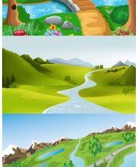 cute cartoon landscape vector graphics