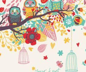 Cartoon bird card background vector
