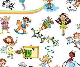 cartoon children 01 vector