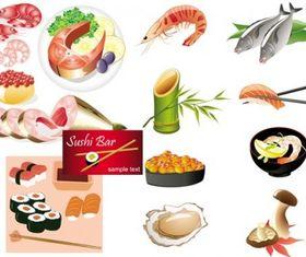 seafood cuisine shiny vector
