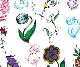 Flowers Color Elements vectors material
