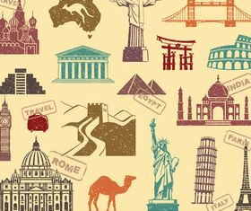 World Landmark Elements 3 vectors