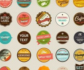 classic label stickers 02 creative vector