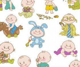 cute cartoon baby 01 Illustration vector