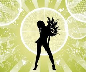 Fashion Girl with Abstract Background vector