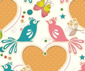 Cartoon love birds pattern Illustration vector