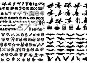 Halloween Silhouette Elements vector