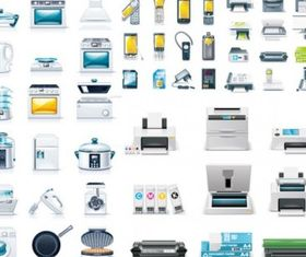 kitchen appliances office icon design vectors