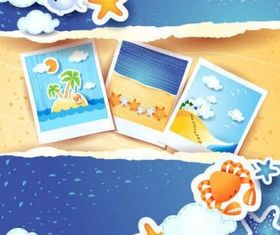 Summer beach background set vector