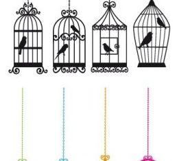 bird and birdcage vector design