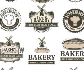 Vintage Bakery Labels Set vector graphics