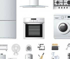 household appliances icons vectors graphic