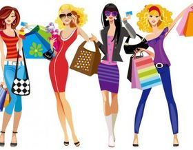 Shopping Girls Vector Illustration set