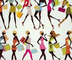 shopping girl 05 vector material