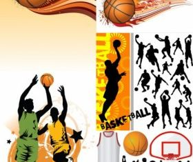 basketball silhouette shiny vector