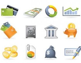 commercial and financial icon 2 vector set