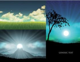 grass trees sunset sky vector graphic
