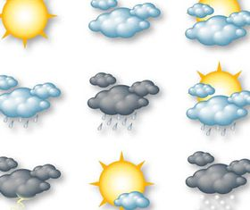 Shiny Weather Color Icons vector material