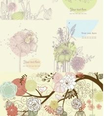 lovely flowers plants vector graphics