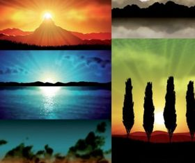 5 realistic scenery works vector