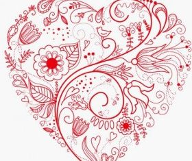 Greeting Floral Heart Vector vector