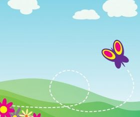 With Butterfly And Flowers clip art set vector