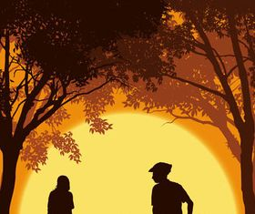 Family and sunset vectors graphics