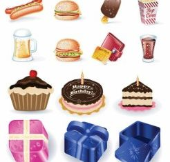birthday goods and fast food vector graphic