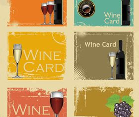 Bright Wine Cards vectors graphic