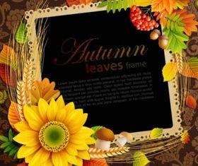 autumn leaves frame background vector