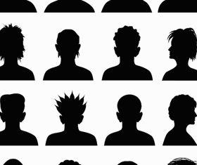 Silhouette Face Avatars set vector