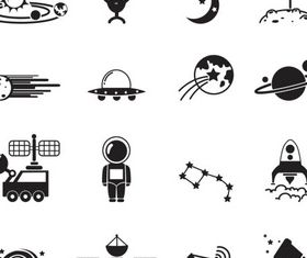 Space Black Icons vectors material