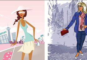 Girls in Travel vector