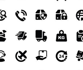 Shipping Black Icons vector